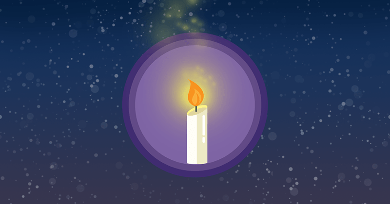 Candle icon on a starry background.